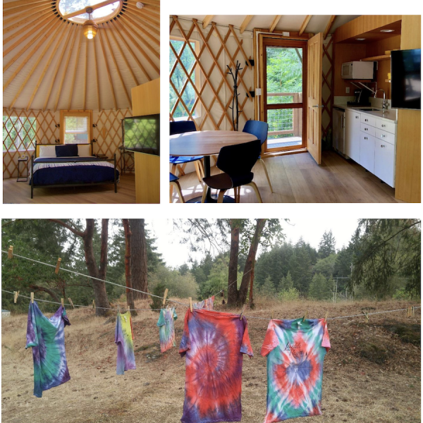 composite photo of yurt interior and tie-dye tshirts